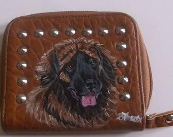 Leonberger Dog Custom Painted Leather Unisex European Wallet