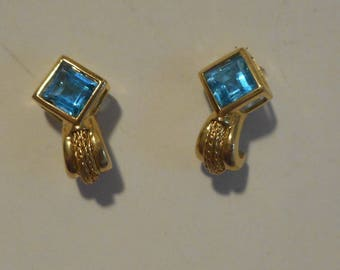 14K Yellow Gold and Blue Topaz Vintage Stud Earrings FINAL SALE