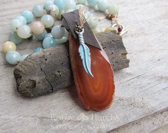 SALE it stoned me to my soul | Faceted Amazonite | Rust Agate Slab | Feather | Organic | Hand-knotted Necklace | OOAK | Nature Lover