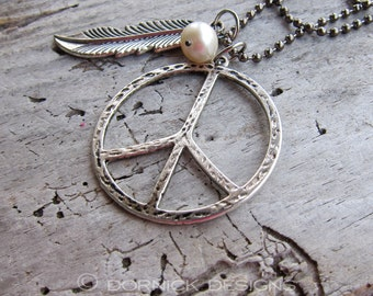 Peace and Hope || Large Peace Sign | Silver Feather | Earthy | Organic | Peace and Pearl Necklace | Boho | Hippie | Chain Necklace Under 20