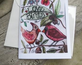 Love Birds || Love bird Drawing | Blank Note Card | Anniversary Card | Lovers Card | Original Drawing Note Card | Cute Blank Card | Love