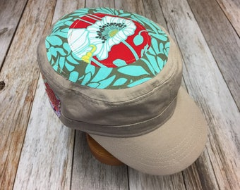 Women's Military Cap in Khaki - Sea Green, Red, and White Floral Top - Cadet Hat