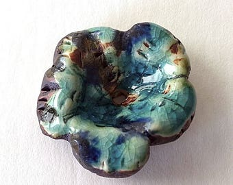 Rustic Blue Crackle Stoneware Ceramic Flower  by Mary Harding