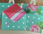 4 mini A7 handmade polka envelopes in green with pink roses, coloured inside