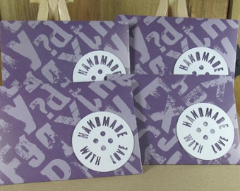 4 Mini A7 Handmade With Love motif envelopes in purple text, thank you, birthday cash, gift giving, invitation