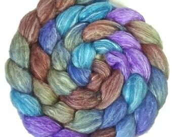 Handpainted Merino Bamboo Silk Roving - 4 oz. CALYPSO - Spinning Fiber