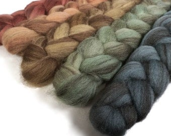 Handpainted Heathered BFL Wool Roving Bundle - 5 oz. EARTHEN HUES - Spinning Fiber