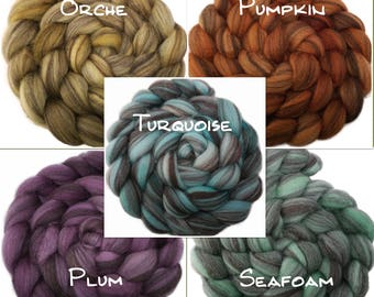 CTA SAL - Handpainted Heathered BFL Roving - 4 oz. Arizona Solids - Spinning Fiber