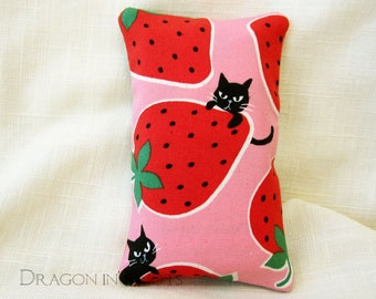 Cats Travel Tissue Cover - Angry Black Cats and Strawberries on Pink Pocket Tissue Holder for To Go Facial Tissue Packets, Polka Dots Kawaii