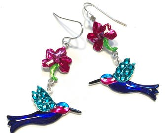 Hummingbird and Flower Earrings Hand Painted and Crystalized Wings