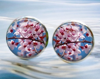 Cherry Blossoms in Bloom Silver Stud Earrings - 12mm Round - Also available in stainless steel (hypo-allergenic)