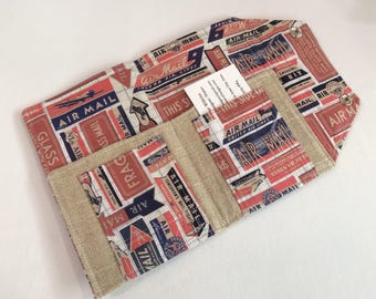 Ready to Ship Passport Cover Case- Mini In Touch Clutch for Moleskine Journals and Passports- Air Mail
