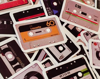 40pcs RETRO CASSETTE STICKERS Tiny Shiny Throwback