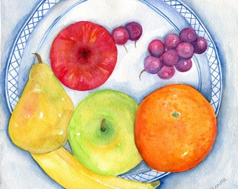 Fruit watercolor painting original 8 x 10 fruit, blue and white plate food art, kitchen decor, grapes, pear, banana, apples, orange painting