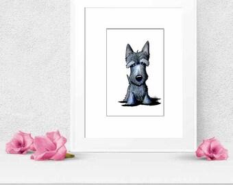 Original Art Scottie Dog Illustration Drawing