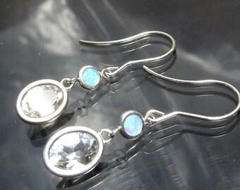 Genuine Australian Opal & Faceted White Topaz Dangle Earrings in Sterling Silver