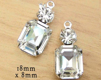 Crystal Glass Beads - Octagons in Silver or Brass Settings - 18mm x 8mm - Rhinestone Glass Charms - Choose Your Color - One Pair