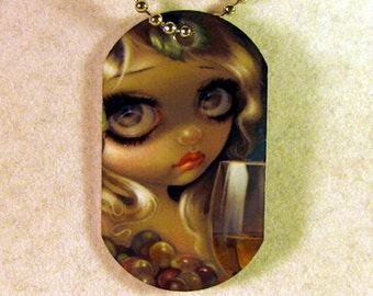 Spirits of the Vine: Merlot and Chardonnay Dogtag Necklace from Jasmine Becket-Griffith Art grapes alcohol wine fairy
