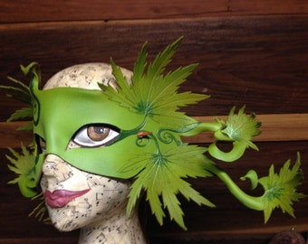 NORML nymph, cannibis leaf leather mask