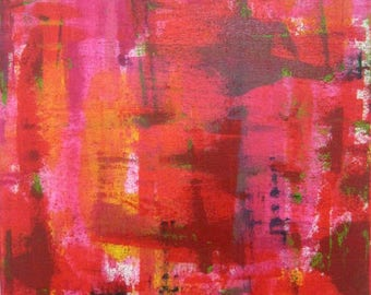 Red - ORIGINAL Abstract Art Painting on Canvas by Regia Marinho. Colorful Decor, Size: 40x50cm