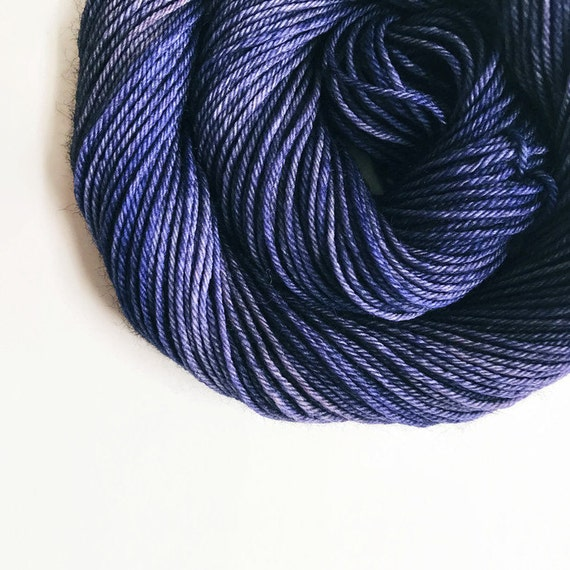 NAVY hand dyed yarn fingering sock dk bulky yarn super wash merino wool yarn single or ply. choose your base. nautical deep navy blue yarn