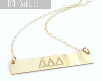 SALE! | Gold Sorority Necklace | Sorority Lavalier Gold Bar Necklace | Custom Engraved Sorority Necklace | 14KGF Front/Back Personalized