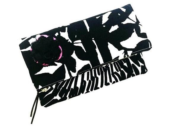 Pink Rose Tree Floral Clutch Bag, Fold-over Clutch Purse, Black Evening Bag