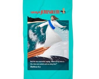 Surfer Jesus Beach Towel - Funny Towel - Religious Art - Bible Art