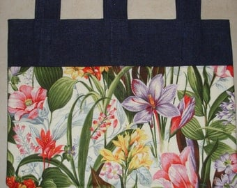 New Denim Walker Bag Tropical Flower Floral Garden Theme