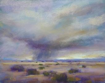 LARGE Dramatic Southwest Sky Original Landscape Pastel Painting Karen Margulis 16x20 clouds