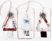 Christmas tree tags, tag art, stitched, set of 3, Yule tags, Made to order