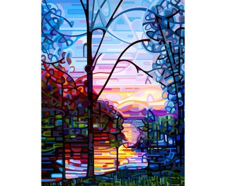 colorful morning lake cottage sunrise view, blue orange dawn, Small Signed Fine Art Giclee Print from my Original Painting - Awakening
