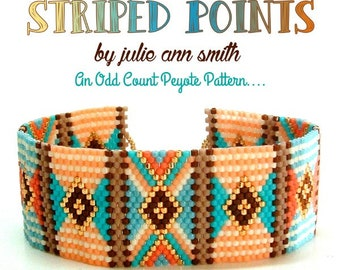 Julie Ann Smith Designs STRIPED POINTS Odd Count Peyote Bracelet Pattern