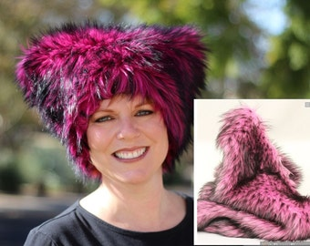 Mi Vida Rosa faux fur Kitty hat - Pink Pussy hat MAGENTA or PINK & black fur black fleece lined - Womens March on Washington DC Jan 21