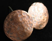 Hammered Antiqued Copper Discs with Sterling Ear Wires - 1 pair - 17mm - 20 gauge