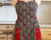 Retro Apron Plus Size Sweetheart Neckline Black and White Floral Damask with Red BETTY