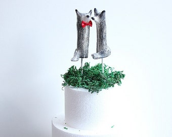 Wolf Wedding cake topper - Clay Wolves- GreyWolves - Woodland Cake Topper - Rustic Cake Topper - Wolf Cake Topper MADE TO ORDER