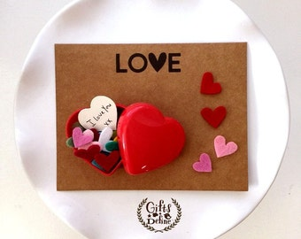 Free Ship Create Your Own Personalized Message for Thoughtful Gift Giving, Heart Boxes with Felt Hearts Confetti, Notecard in Polkadots Bag