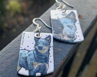 Blue Heeler hand-painted dog earrings - powder blue brown