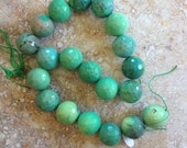 RESERVED, Chrysoprase beads, large, round faceted, green and beige
