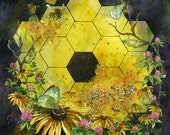 "NASA James Webb Space Telescope ""Icon: Metaphor"" watercolor art print in multiple sizes. JWST with butterflies, bees, black eyed susans"