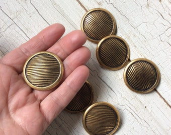 "large funky vintage gold buttons with retro design,1 3/8"" in diameter,New old stock,Faux brass,Set of 6,Brass button,Coat/jacket buttons"
