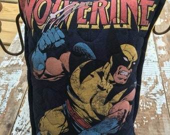 SALE- Marvel-Wolverine-Comic- Throw Pillow--Upcycled Eco Friendly-Quilted-