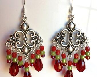 Poinsettia chandelier earrings