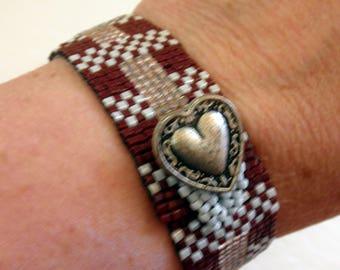 Beaded Bracelet Loomed Beadwork Bracelet Brown Pink