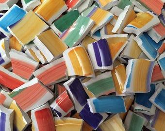 Mosaic Tiles Mix Broken Plate Art Hand Cut Pieces Supply Rainbow Solid Swirl Pottery Tiles 100