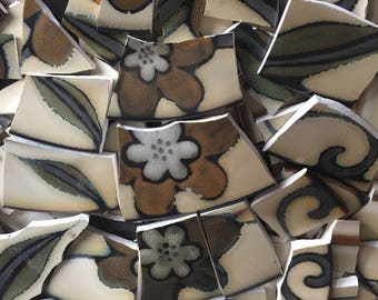 100 pcs Mosaic Tiles Mix Broken Plate Art China Tiles Pottery Brown Flower 100