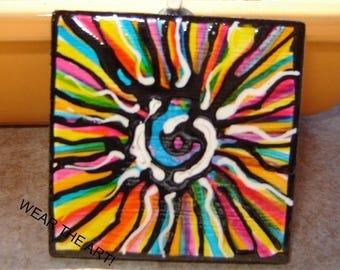 Rainbow ART Pendant Hand Painted jewelry