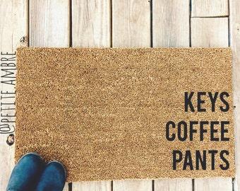 KEYS COFFEE PANTS. Natural CoCo Coir Fiber Modern Tagged Outdoor Welcome Mat Custom doormat