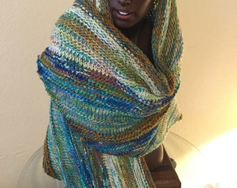 Large Gorgeous Hand Knitted Winter Shawl made with Handdyed Kona Superwash Merino Heavy Weight Extra Long /Wide